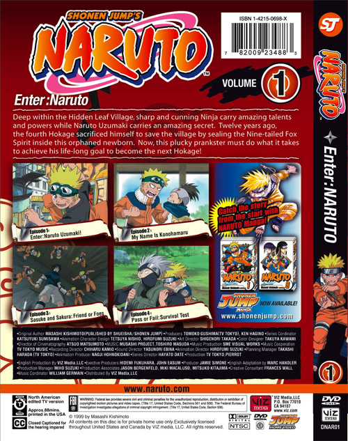 Naruto DVD 1 Back Cover